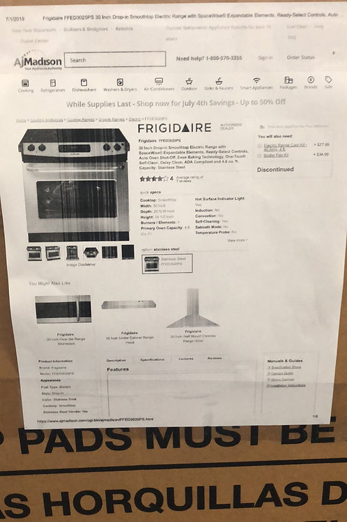 """Brand new frigidaire 30""""drop in electric smooth top stove 1 year warranty"""