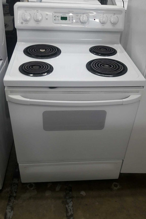 """30""""width GE electric stove coil top white"""