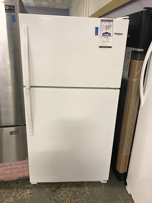 Whirlpool brand new open box white top bottom fridge.