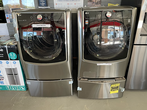 LG signature Frontload electric Washer Gas dryer with Side kick washer.