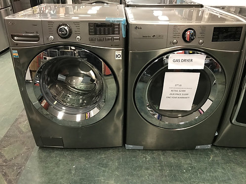 LG brand new open box scratch and dent stackable washer gas dryer.
