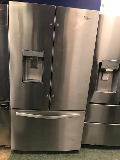Whirlpool brand open box scratch and dent model French door refrigerator.