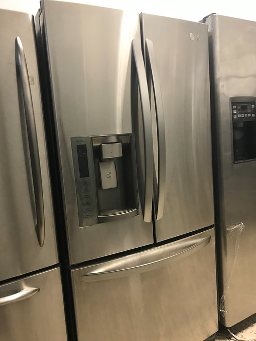 "LG brand refurbished 33"" stainless steel French door refrigerator works great."