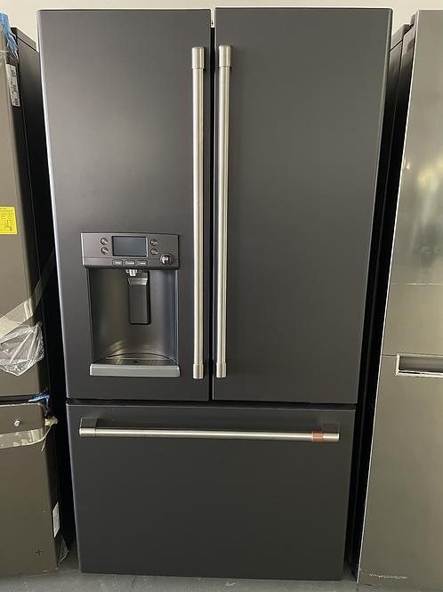 """Cafe floor model Matte black 27.8cuft french door refrigerator 36""""."""