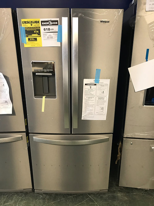 """Whirlpool brand new open box stainless steel French door 30"""" fridge with warrant"""