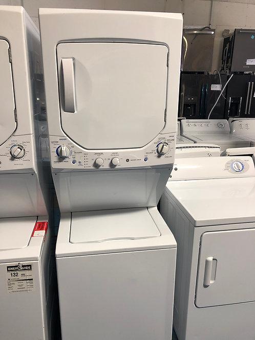 "24""ge gas stackunit washer dryer with 90 days warranty"