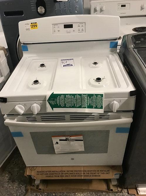 "Ge brand new in box white Gas stove 4.8cuft 30"" wide."
