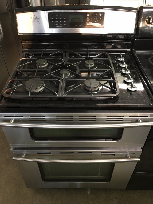 jenn air dual fuel double oven free standing range