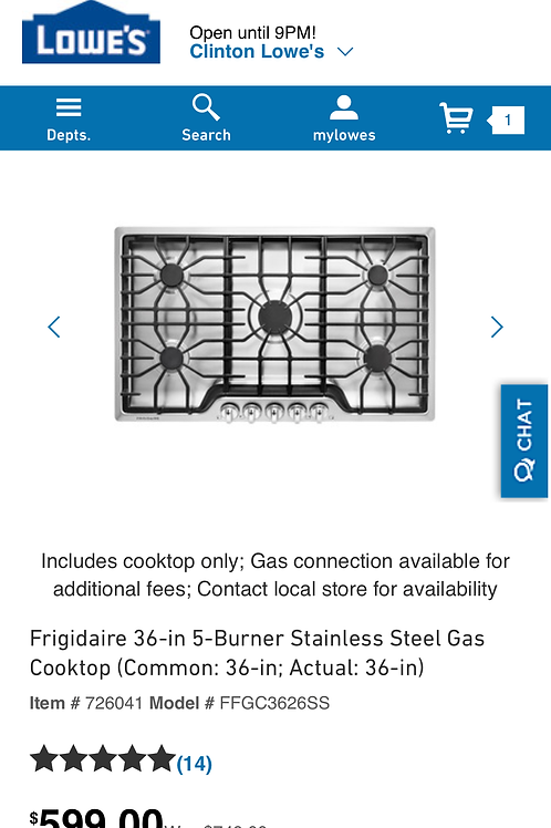 "Frigidaire 36"" gas stainless steel cooktop"