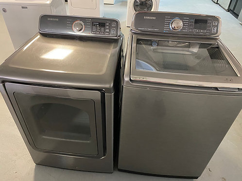 SAMSUNG TOP LOAD WASHER AND DRYER ELECTRIC WITH WARRANTY