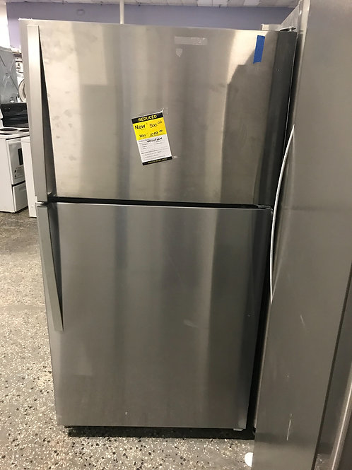 Whirlpool brand new open box stainless steel top bottom fridge.