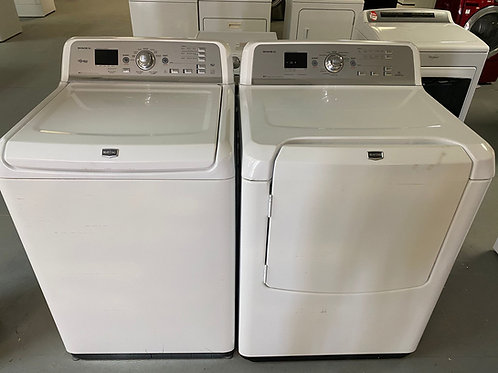 MAYTAG TOP LOAD WASHER AND DRYER ELECTRIC SET WITH WARRANTY