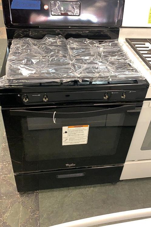 Whirlpool new open box 4 burner gas black gas stove.
