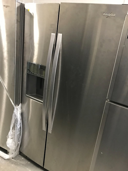 """Whirlpool brand new open box stainless steel side by side refrigerator 36""""."""