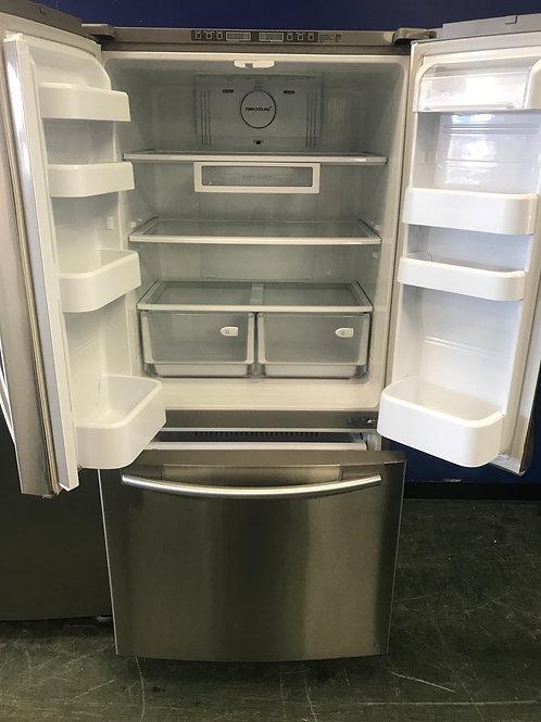 """Samsung brand stainless steel 33"""" French door refrigerator 90 days warranty."""