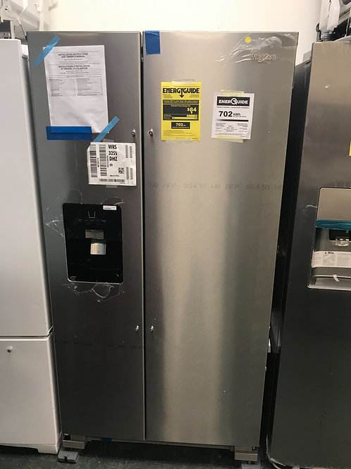 Whirlpool brand open box scratch and dent model side by side refrigerator.