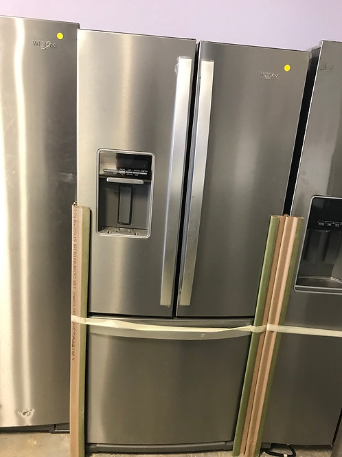 """Whirlpool brand new open box stainless steel 30"""" French door refrigerator."""