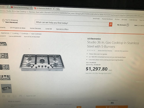 "36""BRAND NEW LG STAINLESS 5 BURNER GAS COOK TOP WITH 1 YEAR WARRANTY"