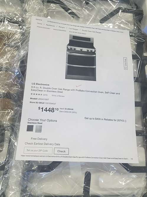 "LG BRAND NEW 30"" DOUBLE OVEN GAS RANGE."
