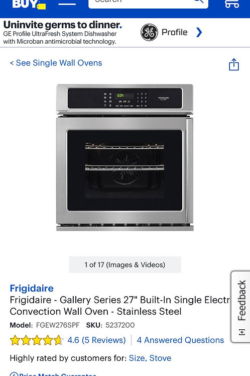 """Frigidaire gallery new open box 27"""" built in Convection wall oven."""