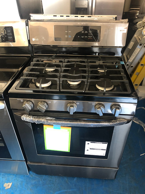 New scratch dent black stainless 5burner gas stove with 1 year warranty