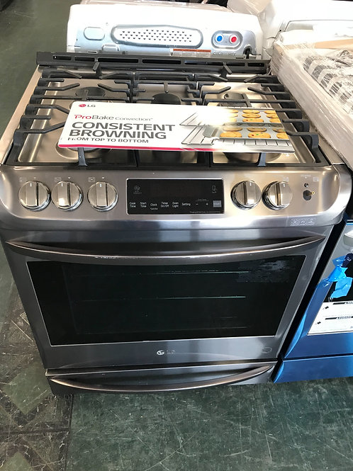Lg brand new slide in gas stove black stainless.