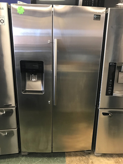 Samsung brand open box scratch and dent model side by side refrigerator.