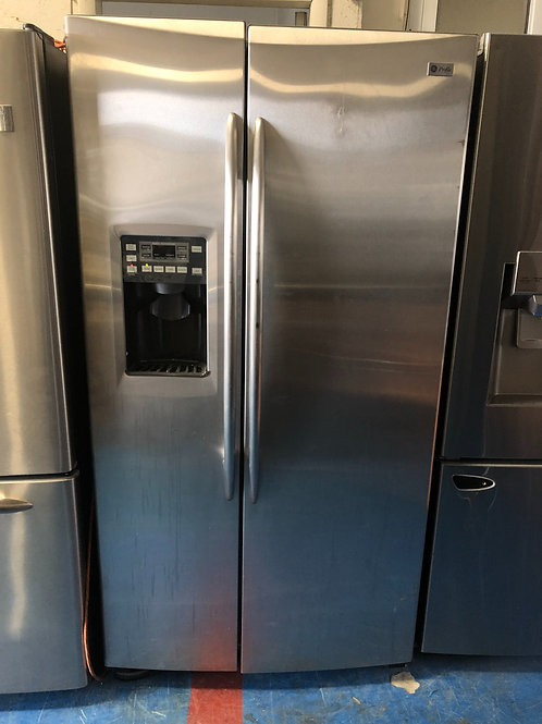 """36""""ge profile stainless side by side fridge great working order 90 days warranty"""