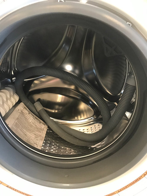 """Whirlpool brand new open box 24"""" frontload washer dryer set with warranty."""