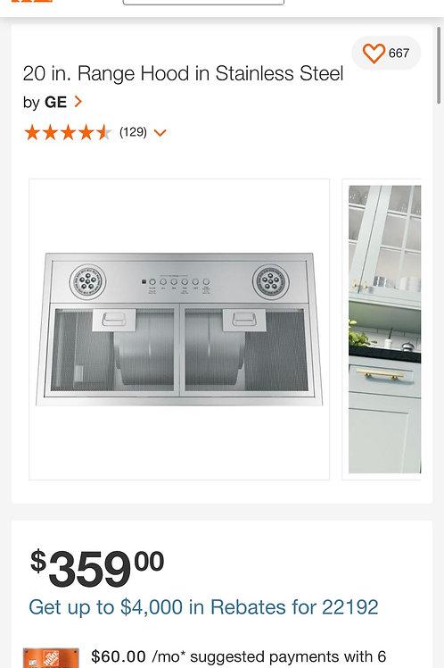 """Ge new 20"""" stainless steel Range hood.(No filters)"""