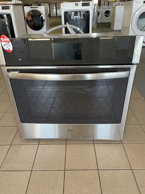 """Ge new open box 30"""" stainless steel single wall oven."""