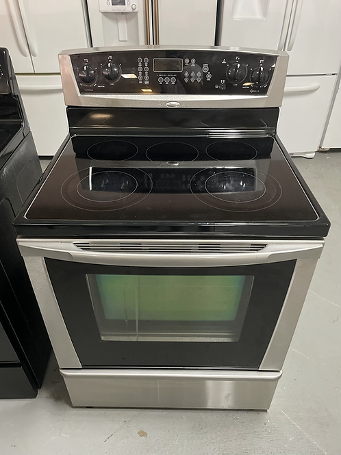 Whirlpool Gold Series stainless steel electric stove 45 days warranty.
