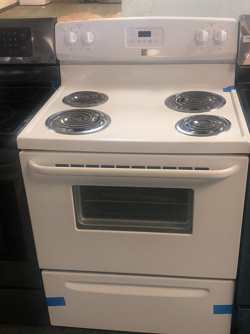 Brand new kenmore white coil top electric stove with one year warranty
