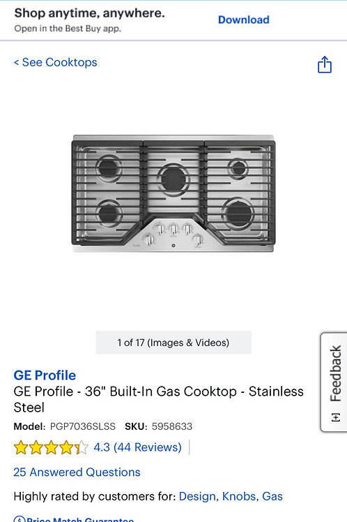 """Ge new open box Stainless steel 36"""" Gas cooktop."""