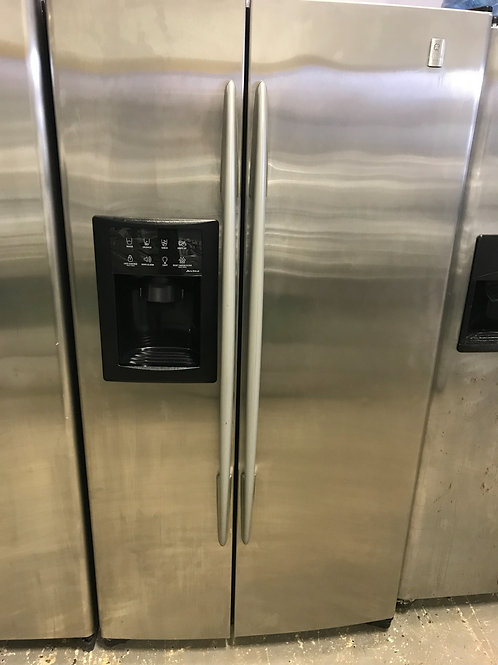 Ge profile refurbished stainless steel side by side refrigerator.