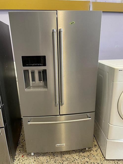 kitchenaid stainless steel french door fridge with waarnty