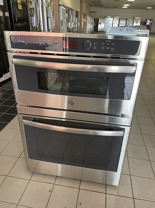 """Ge profile Return model 30"""" double wall oven combo stainless steel."""