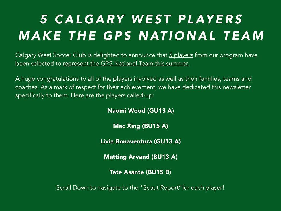 4 Calgary West players make the GPS Nati