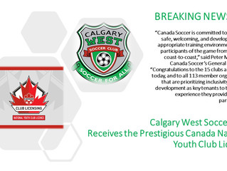 Calgary West earns the prestigious Canada Soccer National Youth Club License.