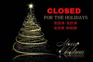 Studio Holiday Closings