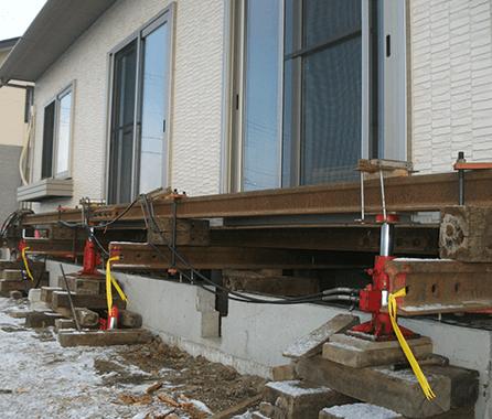 地震で壊れた基礎を新設ご曳家4