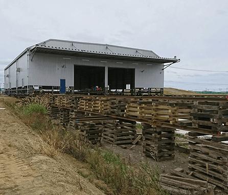 鉄骨造倉庫曳家3