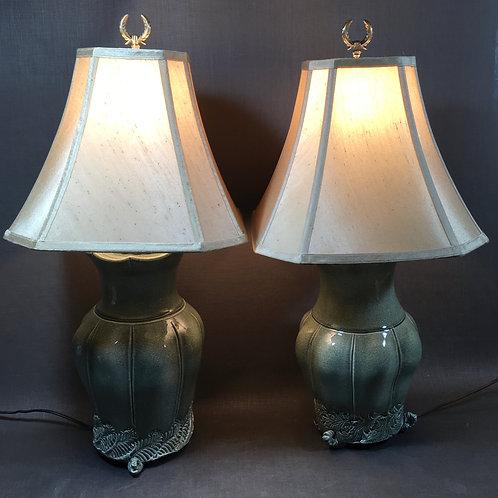 CELADON SEGMENTED LAMP  #4- Set of 2 by Steve Liggett