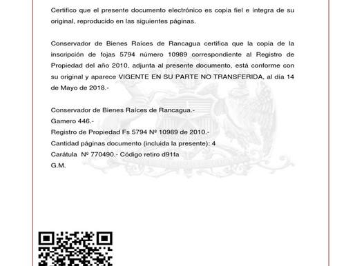 Certificado de Dominio Vigente