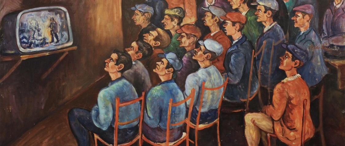 Carmine Pirrotta - La televisione, metà anni '60 - olio su tela