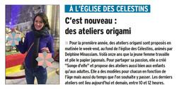 Atelier origami Eglise des Célestins