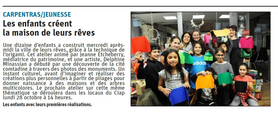 Atelier ville en origami - La Cove - Mon