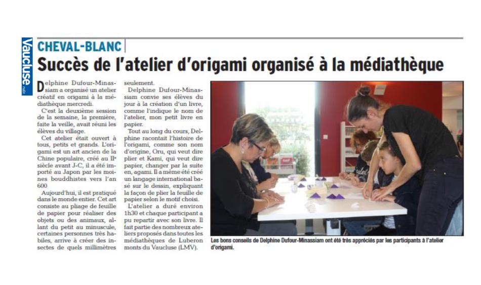 Atelier origami Cheval-Blanc
