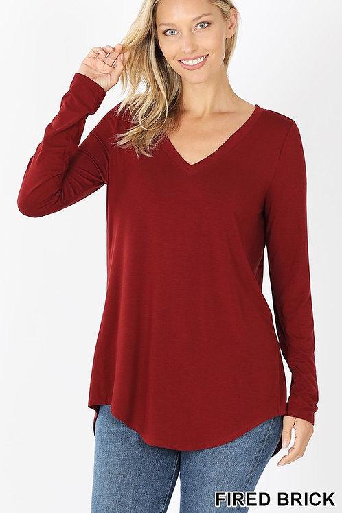 Not So Basic V-neckTee in Dark Red