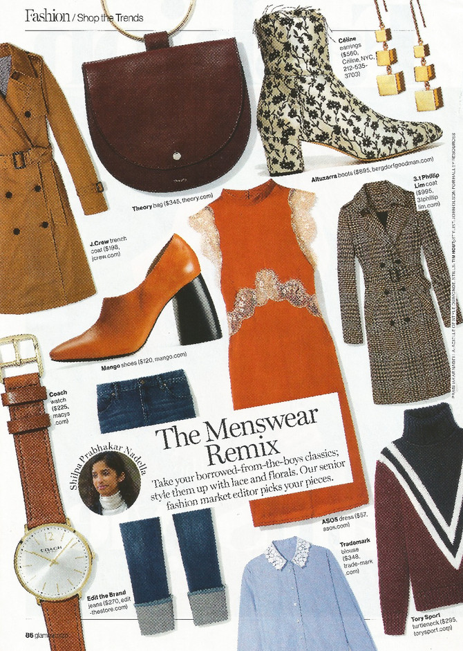"Glamour Says ""Take your borrower-from-the-boys classics: style them up with lace and florals.&q"